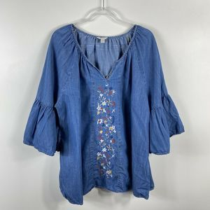 Women's Blue Chambray Embroidered Top